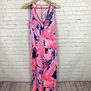 LILLY PULITZER  Feather Print Pink Maxi Dress S